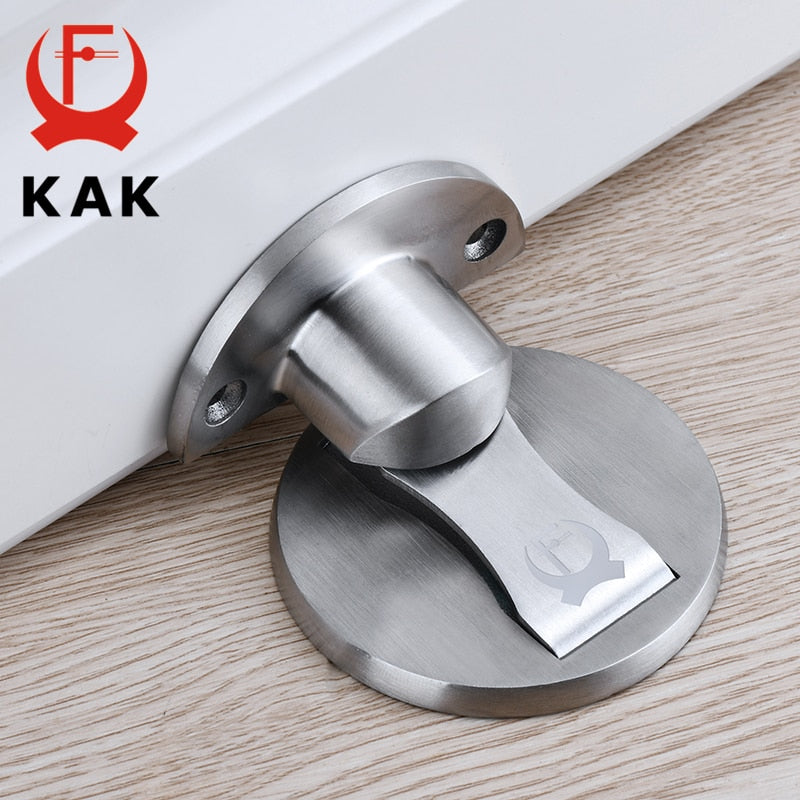 KAK Magnetic Door Stops Stainless Steel Door Holders Catch Floor Nail-free