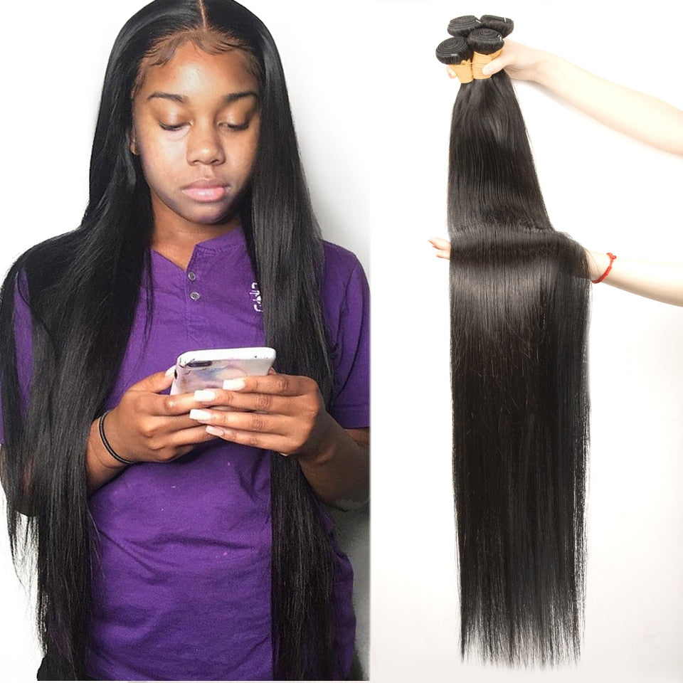 Indian Hair Straight Bundles 100% Natural Human Bundles Double Wefts Thick Remy Hair