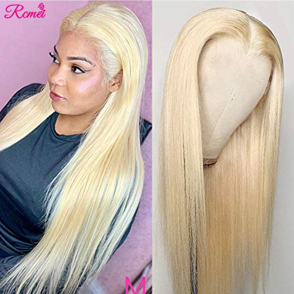 Honey Blonde Lace Front Wig Brazilian Straight Human Hair Pre Plucked 13*1 Remy 150