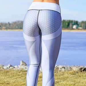 Mesh Pattern Print Leggings Light Grey / L Genzproduct