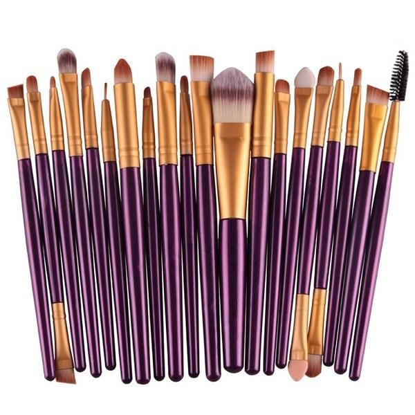 20 Pcs Pro Makeup Set Powder Foundation Eyeshadow Eyeliner Lip Cosmetic Brushes Plum Genzproduct