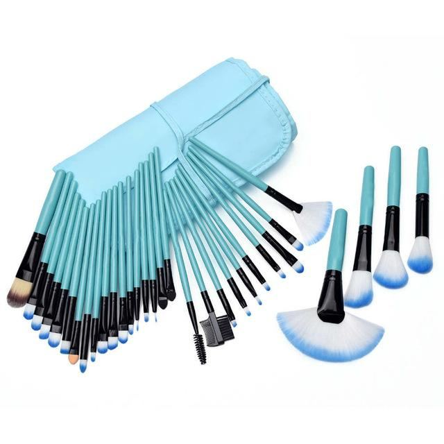 32 Pcs Makeup Brush Beauty Set Blue / United States Brushes Genzproduct