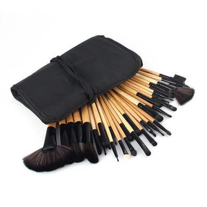 32 Pcs Makeup Brush Beauty Set Wooden Black / United States Brushes Genzproduct
