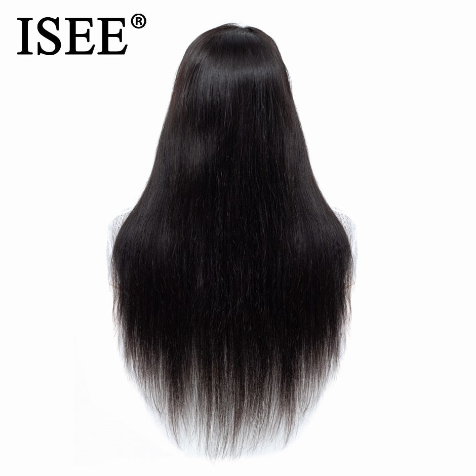 ISEE Malaysian Straight Lace Front Human Hair Wigs With Pre Plucked Hairline