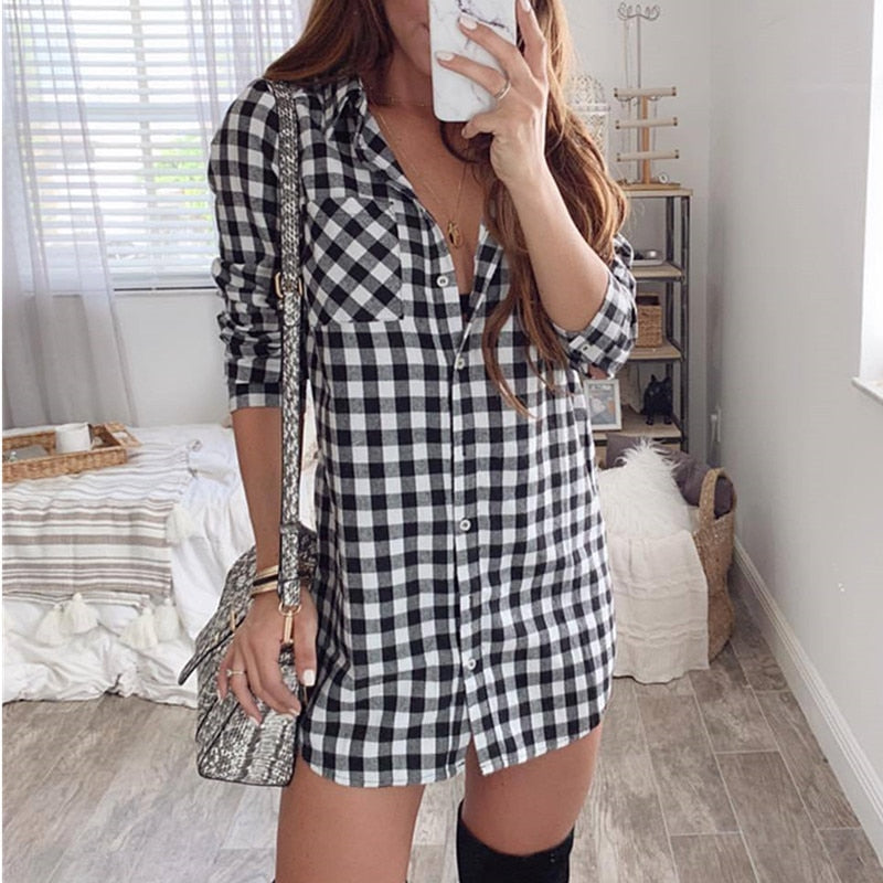 GenZ Sexy Plaid Casual Loose Long Sleeve Mini Shirt Dress