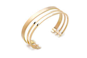 Triple Band Cuff in 14k