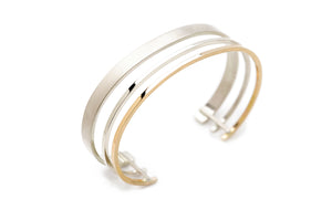 Triple Cuff in Silver and 14k