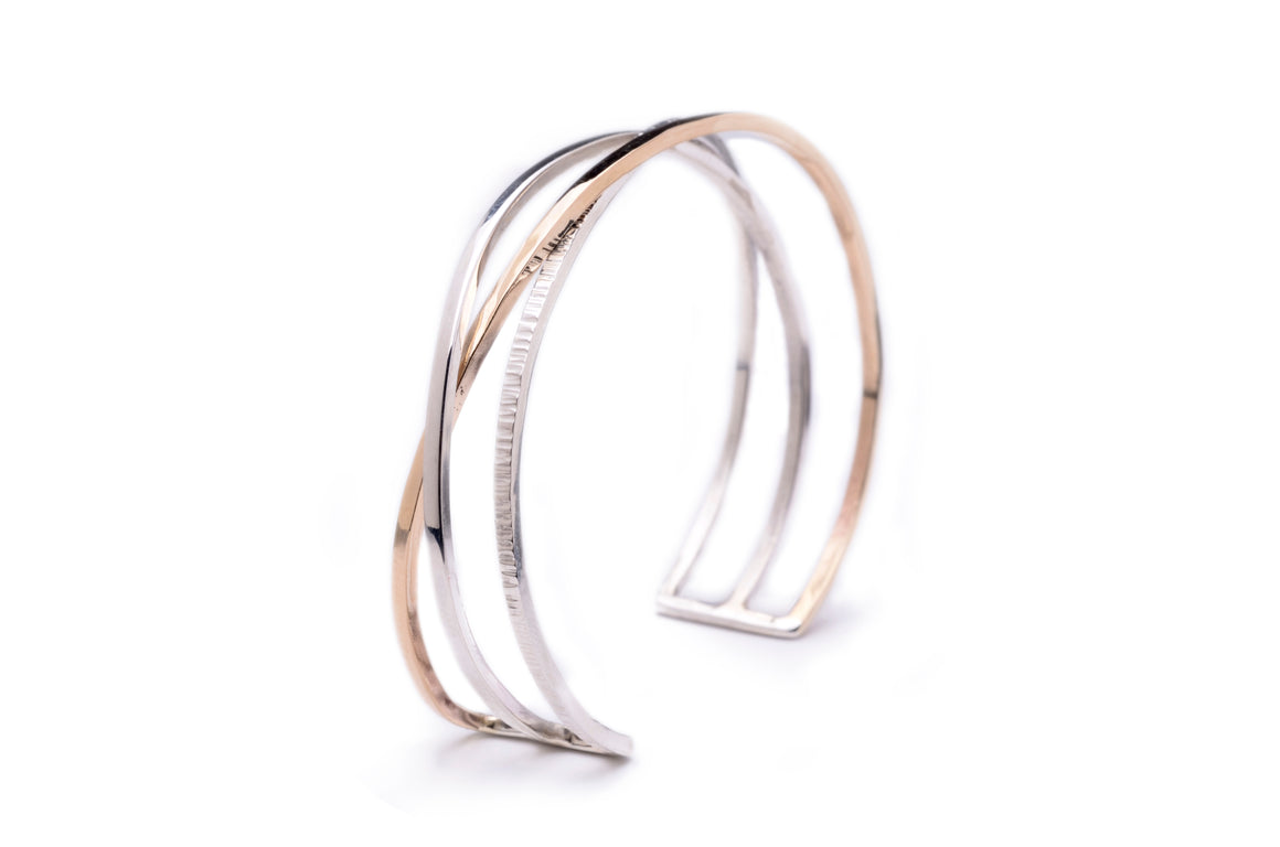 Triple Woven Cuff in Silver & 14k Gold