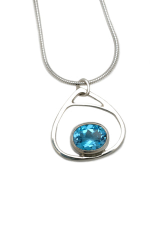 Droplet Pendant with Swiss Topaz