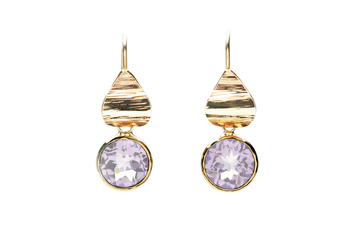 Pink Amethyst Flora Drop Earrings