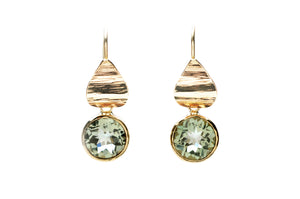 Prasiolite Flora Drop Earrings 14k