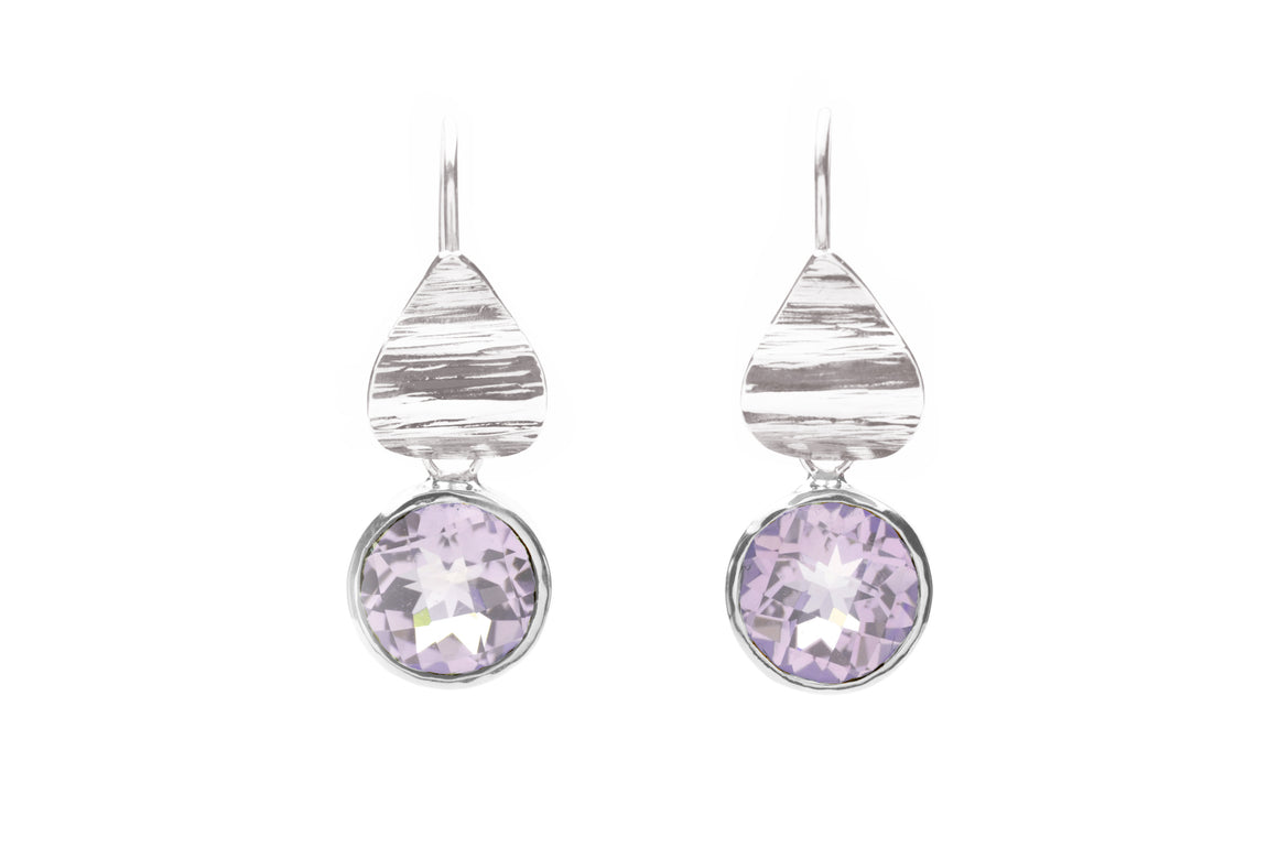 Pink Amethyst Flora Drop Earrings Sterling Silver