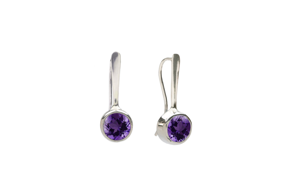Forged Drop Earrings with Amethyst