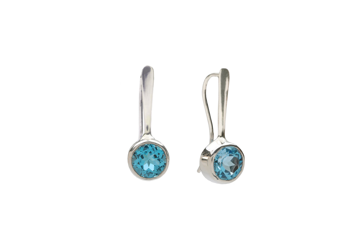Forged Drop Earrings with Swiss Topaz