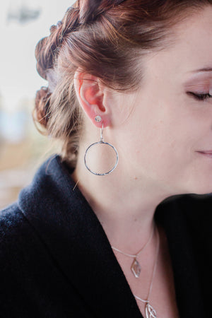 Simple Hammered Front Facing Hoops