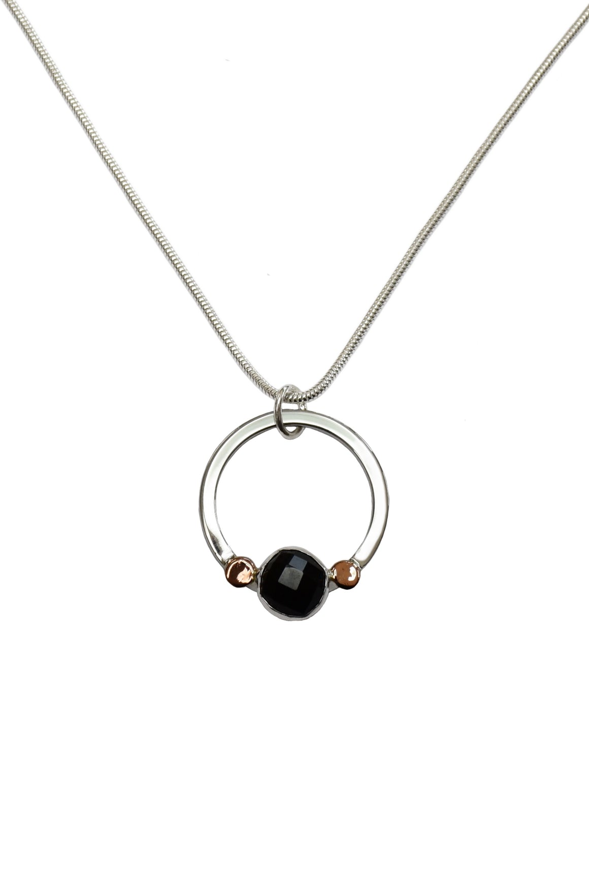 Pebble Drop Pendant with Onyx & Rose Gold