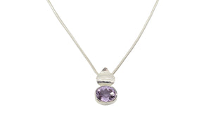 Pink Amethyst Flora Pendant in Sterling Silver