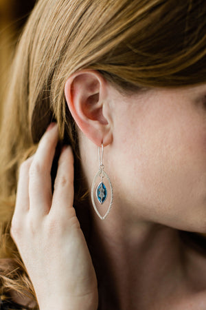 Pressed Leaf Earrings with Topaz
