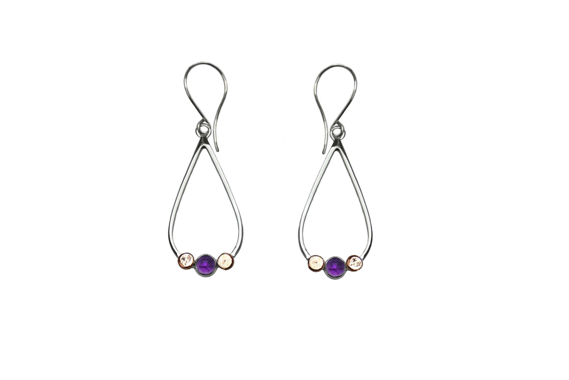 Pebble Drop Amethyst Earrings with Rose Gold