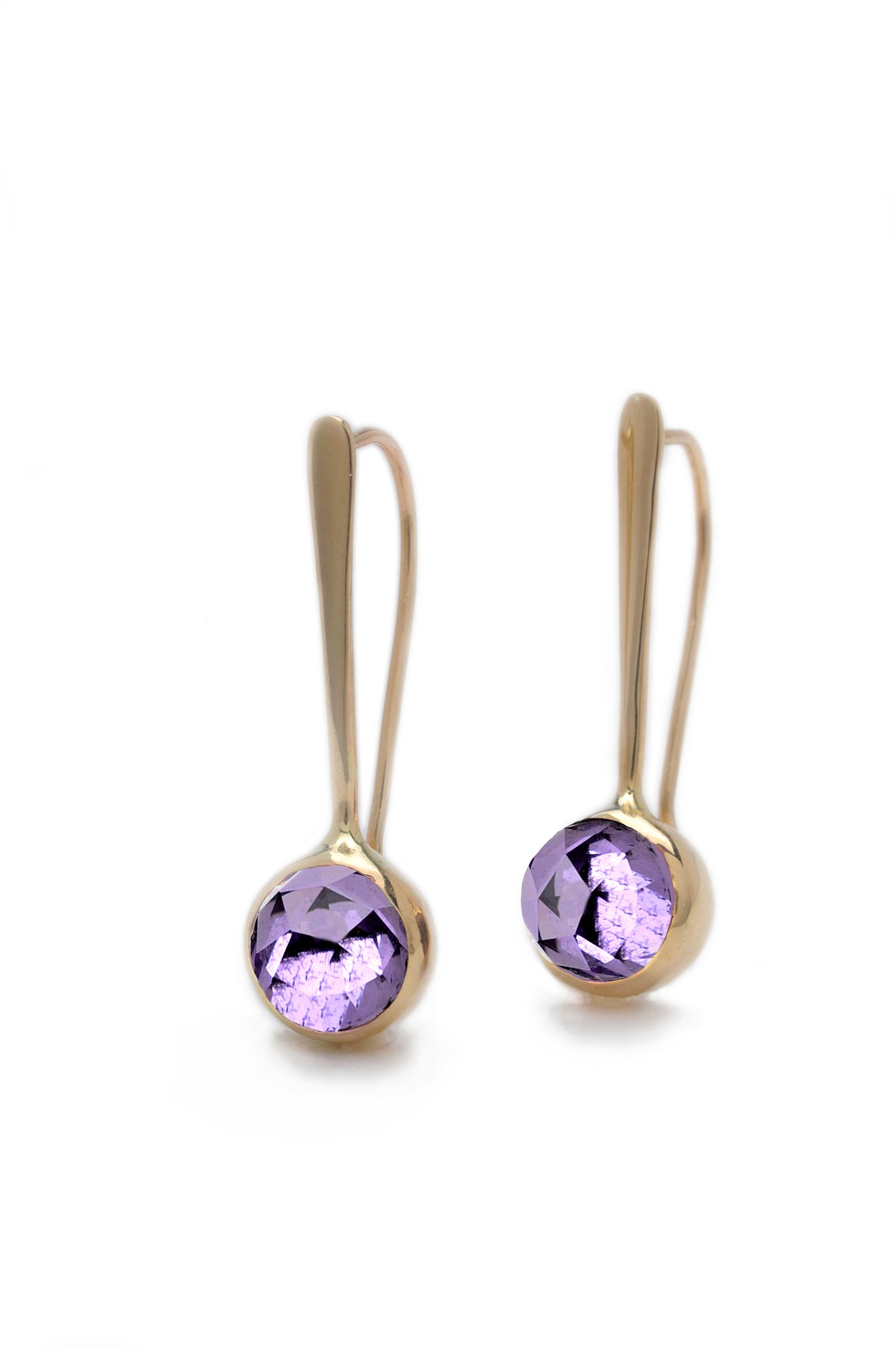 14k Forged Drop Earrings With Rose Cut Amethyst