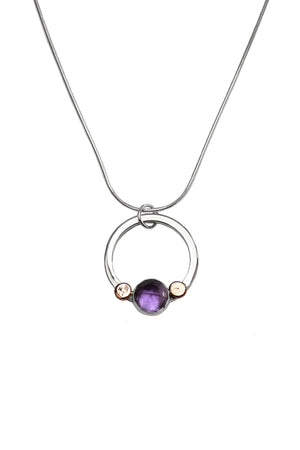 Pebble Drop Pendant with Amethyst & Rose Gold