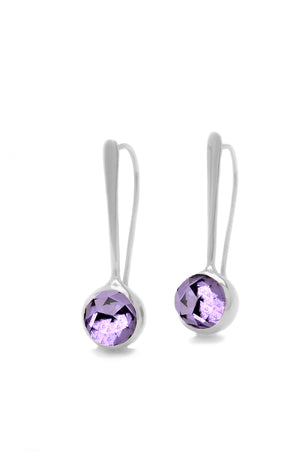 Forged Drop Earrings With Rose Cut Amethyst