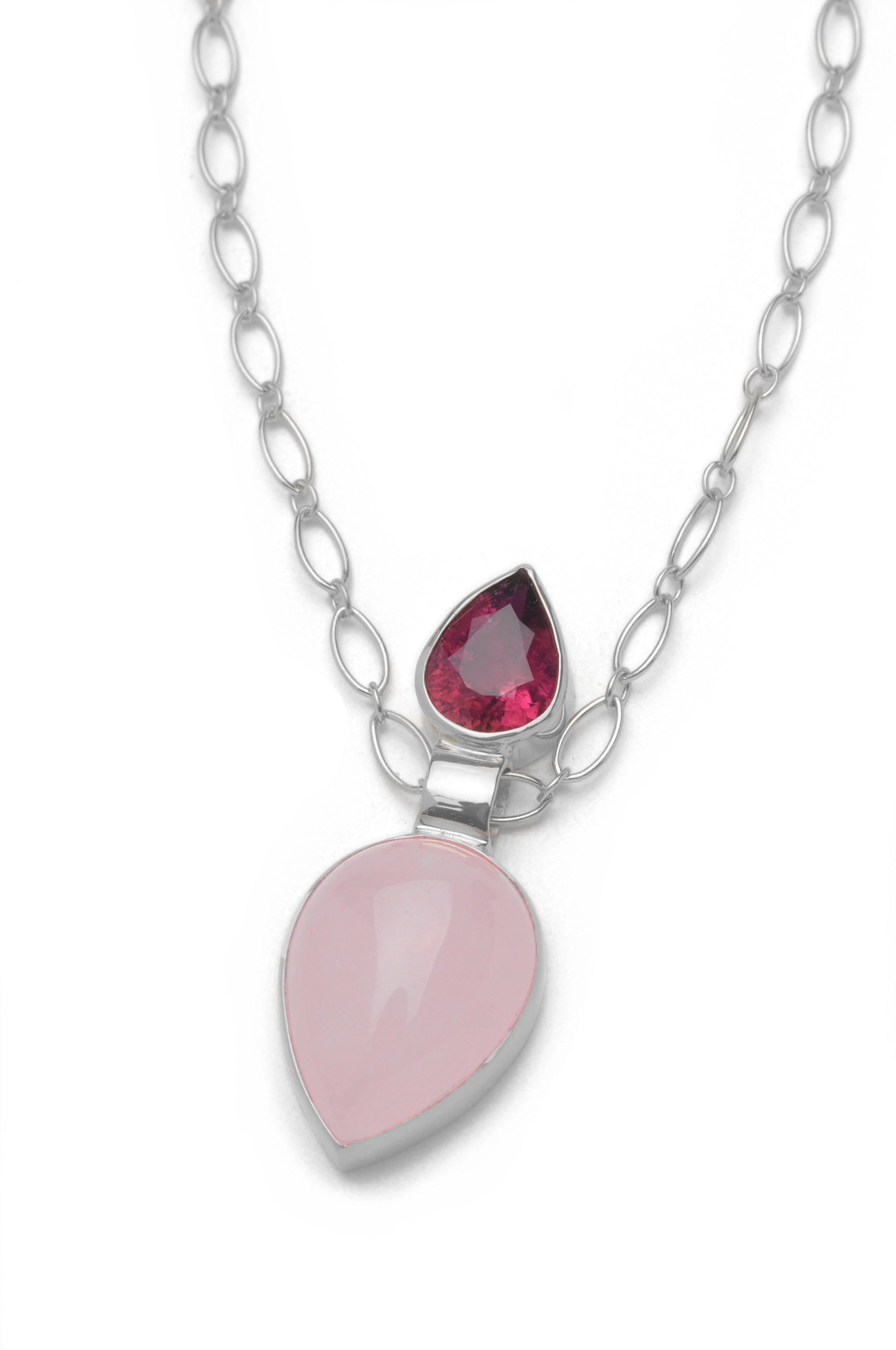 and quartz products pendant tourmaline necklace stephanie rosequartztourmss rose pendulum pink