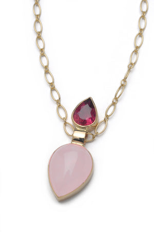 Pendulum Necklace - Rose quartz and Pink Tourmaline