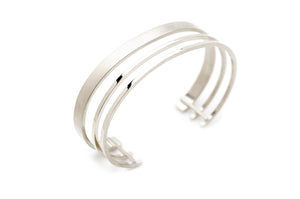 Triple Band Cuff in Silver
