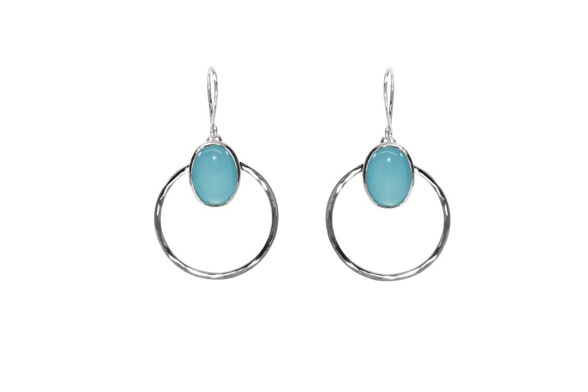 Sea Blue Agate Front Facing Hoops