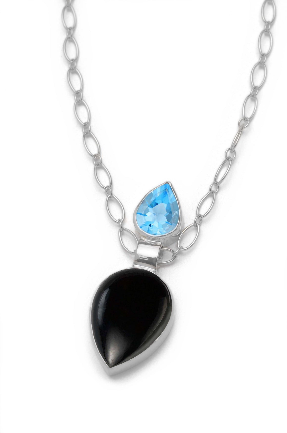 Pendulum Necklace - Onyx and Swiss Topaz