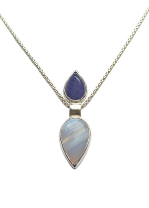 Pendulum Pendant with Tanzanite and Blue Lace Agate