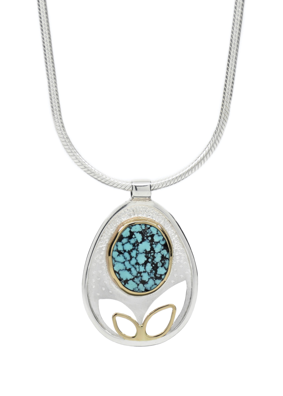 Matrix Turquoise Dotted Leaf Pendant
