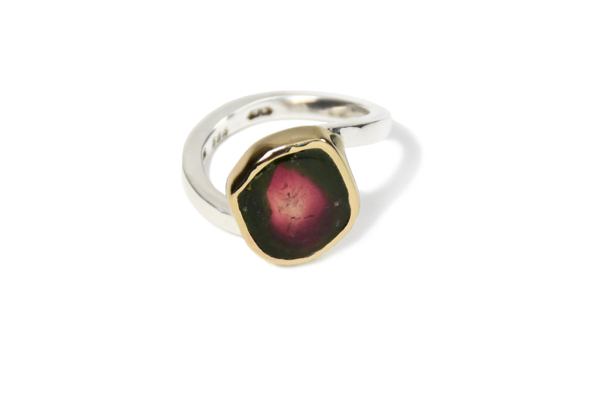 Watermelon Tourmaline Twist Ring