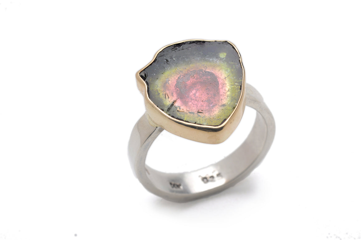 Watermelon Tourmaline Ring