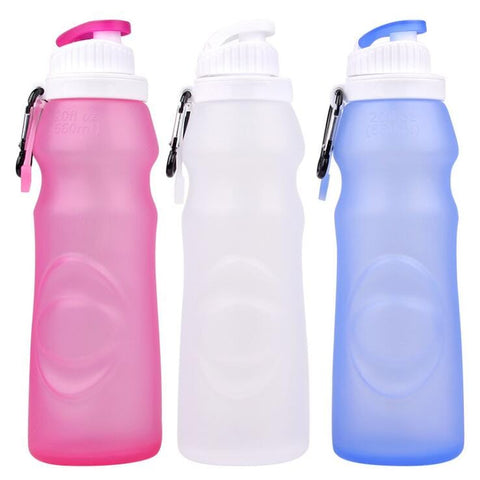 Silicone Foldable Water Bottle - Perfect for Running, Biking, Jogging, Hiking, Camping, Picnic, Yoga and Travel etc.