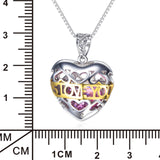 925Silver 3D Hollow Out Skeleton Heart Pendant Necklace