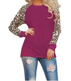 Fashion 2018  Autumn Long Sleeve Leopard Loose  Tee Tops