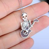 Guitar Skeleton Pendant 925 Silver Necklace