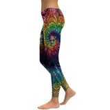 Rainbow Burst Mandala Flower Yoga/Workout Leggings