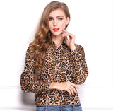 Leopard Chiffon Shirt Lapel long