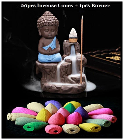 Buddha Incense Burner + 20pc Incense Cones