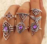 Retro Purple Crystal joint ring set- Free with Purchase