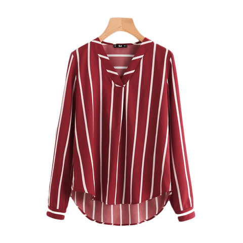 Long Sleeve Striped V-Neck Shirt