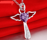Violet Silver Angel Love Heart Pendant- Free With Purchase