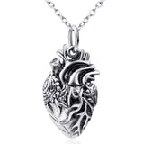 Human Heart Pendant 925 Silver Necklace
