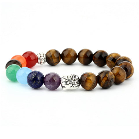 6mm natural stone green Dongling red agate yoga chakra bracelet