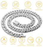 Halukakah Gold Chain Iced Out for Men,Men's 14MM Miami Cuban Link Chain Choker Necklace 18In(45cm) Platinum White Gold Finish,Full Cz Diamond Cut Prong Set,Gift for Him