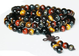 Natural crystal red / yellow / blue Tigereye 108 beads bracelet m/f