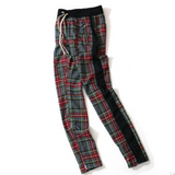 Plaid Hip Hop Patchwork Pants With Drawstring